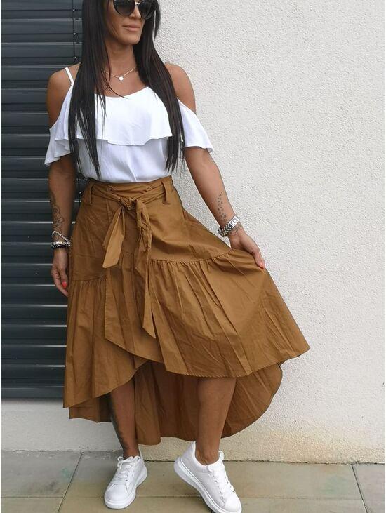 668ec3ba20c3 Elegantná hnedá sukňa SANDRA